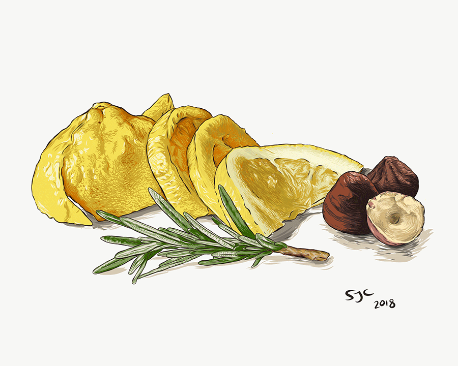 Lemon, Hazelnuts and Rosemary - Vector illustration
